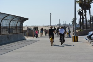 Huntington Beach Bike Trail at the bridge over the Talbert Channel.