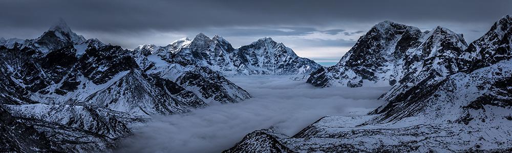 40x12 inches - Kala Patthar, Everest Basecamp, Nepal - Panoamic Fine Art Print