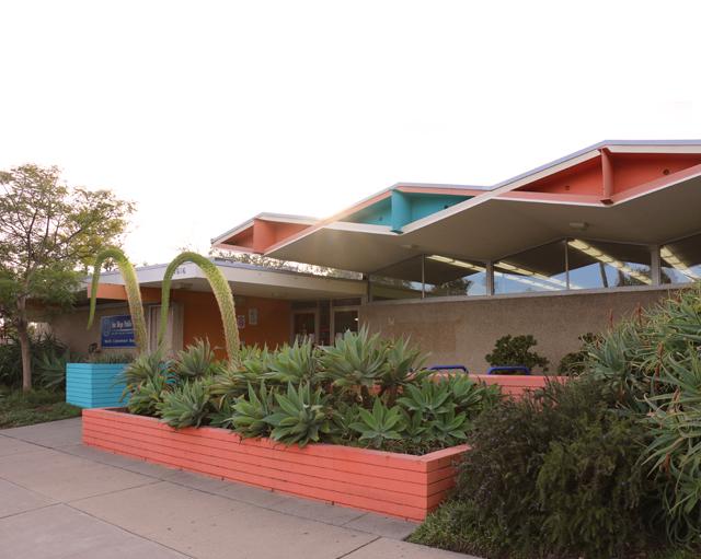 mid century modern library
