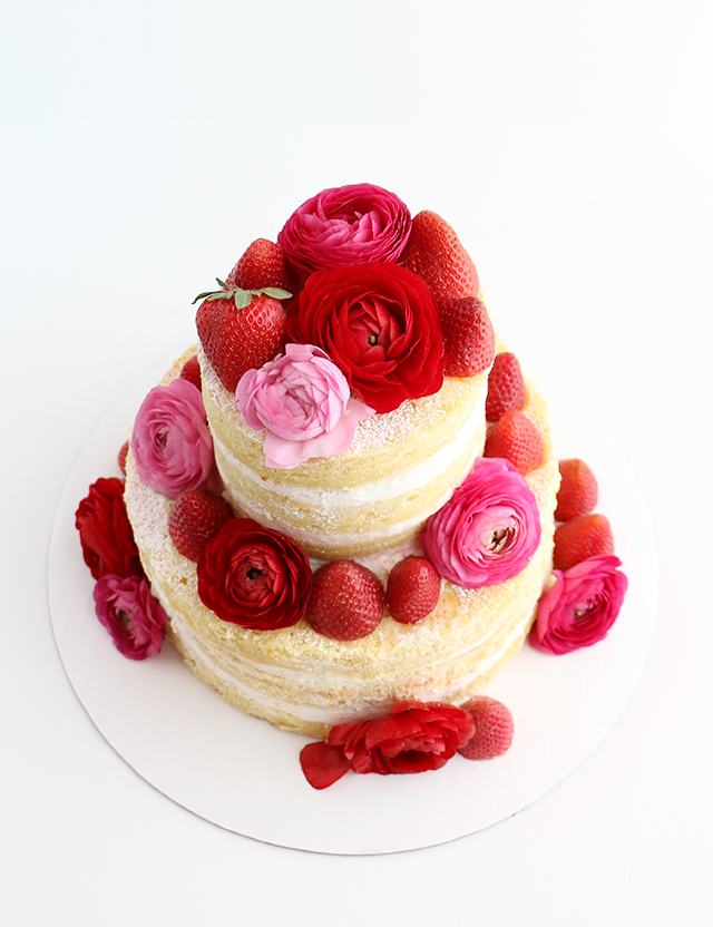 Naked Cake with Flowers and Strawberries