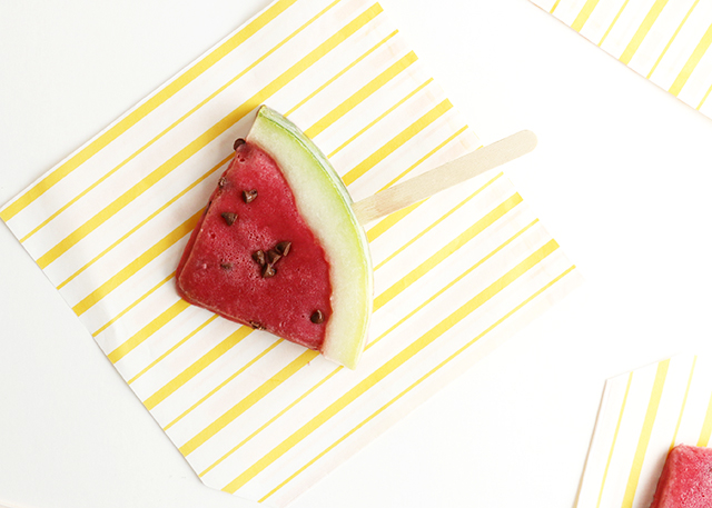 Watermelon Ice Cream Pops for Yahoo