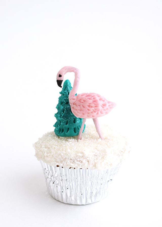 Flamingo Christmas Tree Cupcake