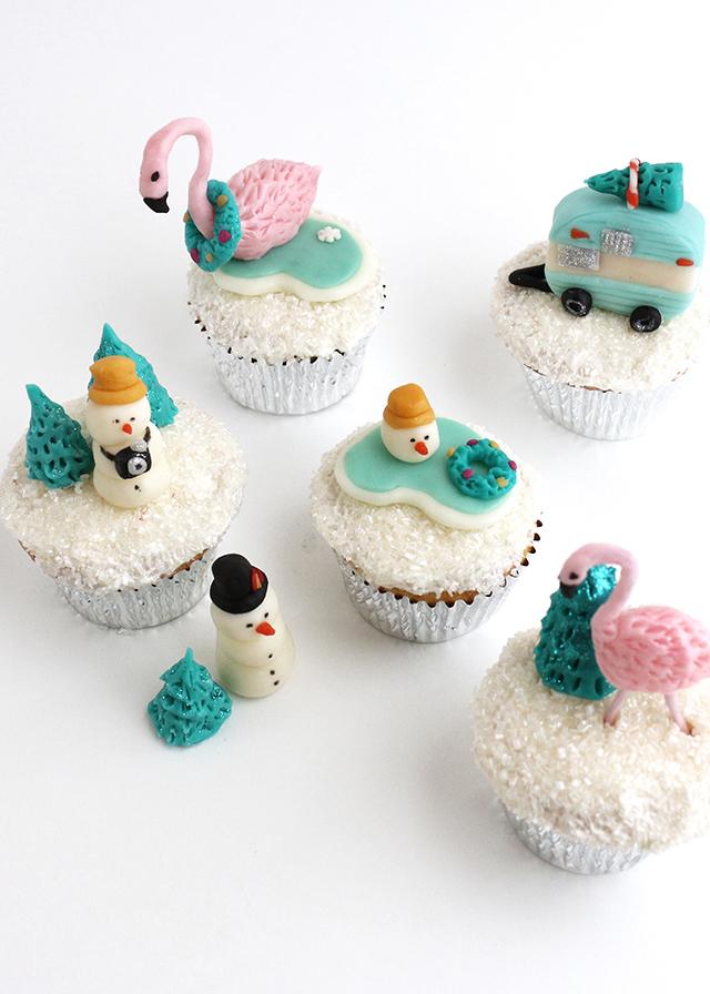 Tropical Snowglobe Cupcakes