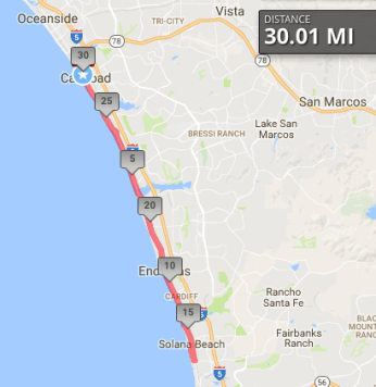 Our route, 30 miles from Carlsbad to Solana Beach