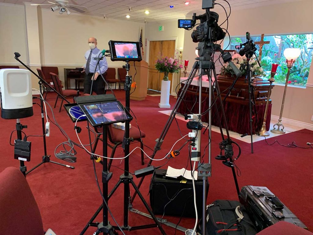 Setting up a live streaming funeral
