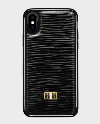 Gold Black iPhone X Leather Case Unico Black in Qatar