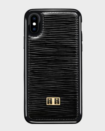 Gold Black iPhone X Leather Case Unico Black in Qatar