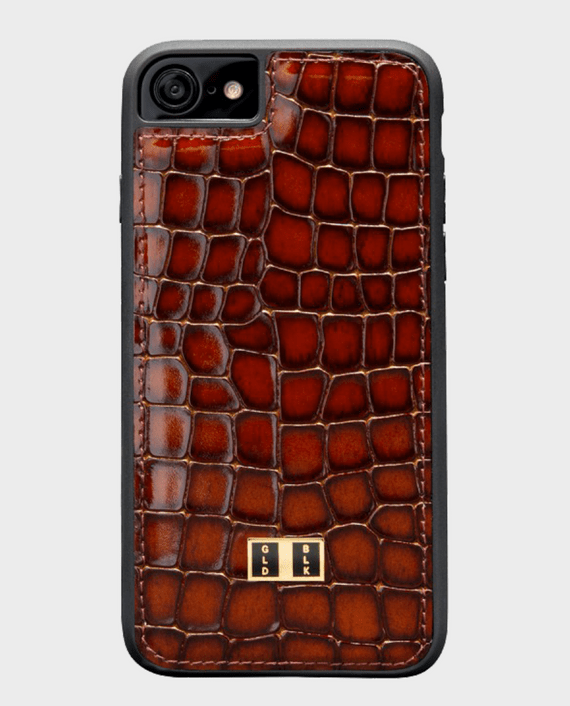 Gold Black iPhone 8 Leather Case Milano Brown in Qatar