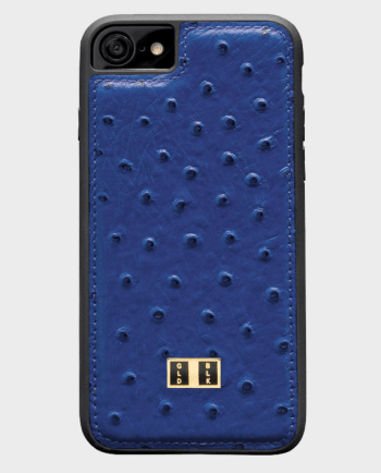 Gold Black iPhone 7 Leather Case Ostrich Royal Blue in Qatar