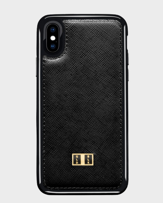 Gold Black iPhone X Leather Case Saffiano Black in Qatar