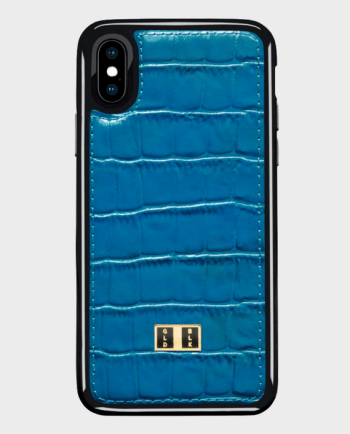 Gold Black iPhone X Case Croco Blue in Qatar