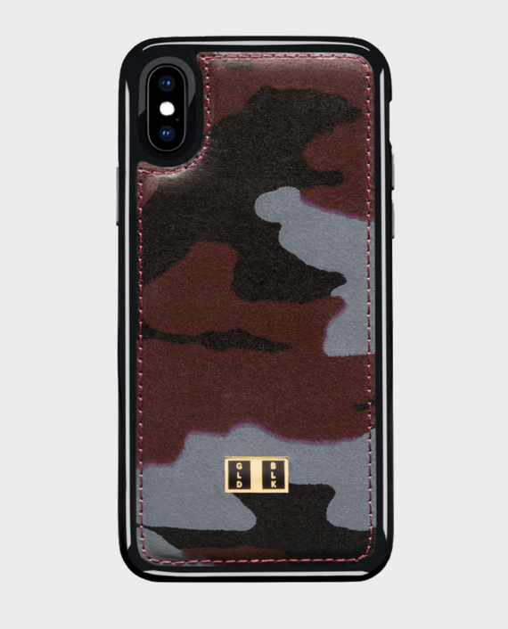 Gold Black iPhone X Leather Case Camouflage in Qatar