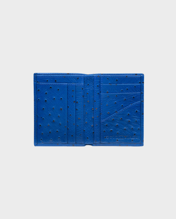 Goldblack Bifold Slim Wallet Ostrich Royal Blue