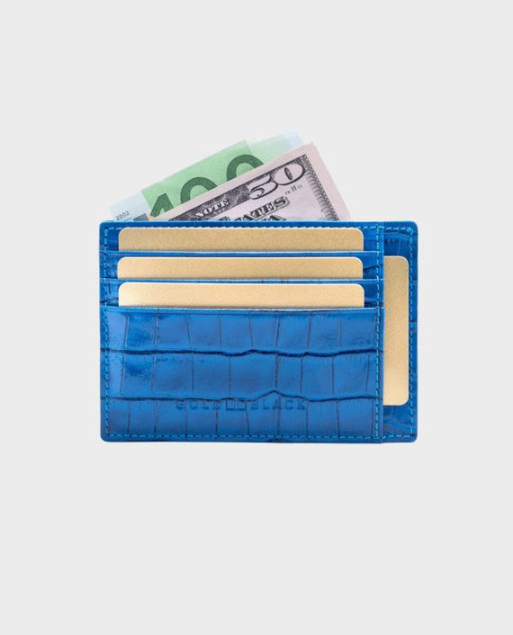 Gold Black Card Holder Bill Croco Ocean Blue
