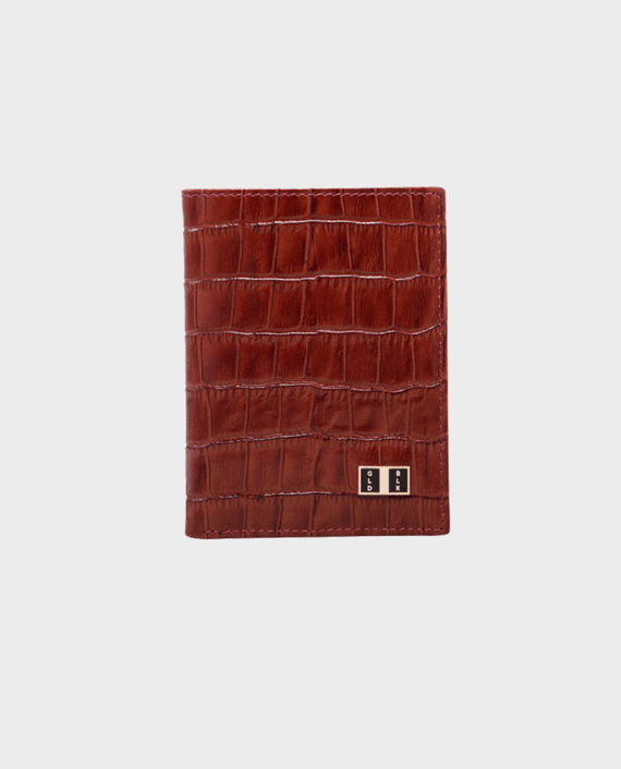 Goldblack Bifold Slim Wallet Croco Brown in qatar