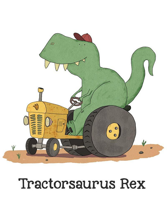 Dinosaur on a tractor