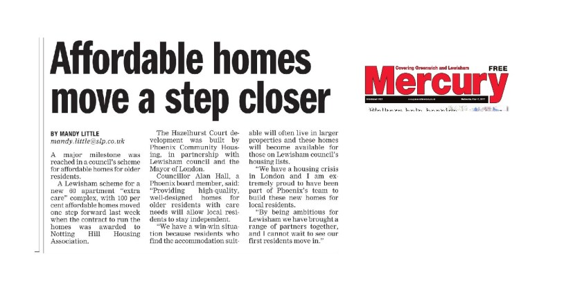 Hazelhurst Court contract award and a step closer press cutting the mercury may 2017