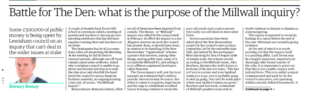 Guardian Millwall Article Front Page Clipping 180817