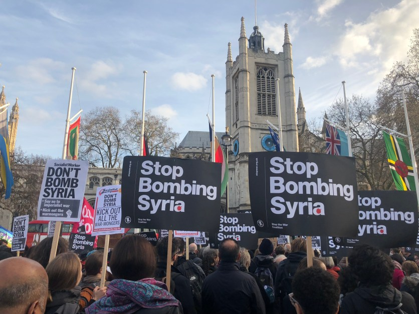 stop bombing syria westminster abbey 04-2018