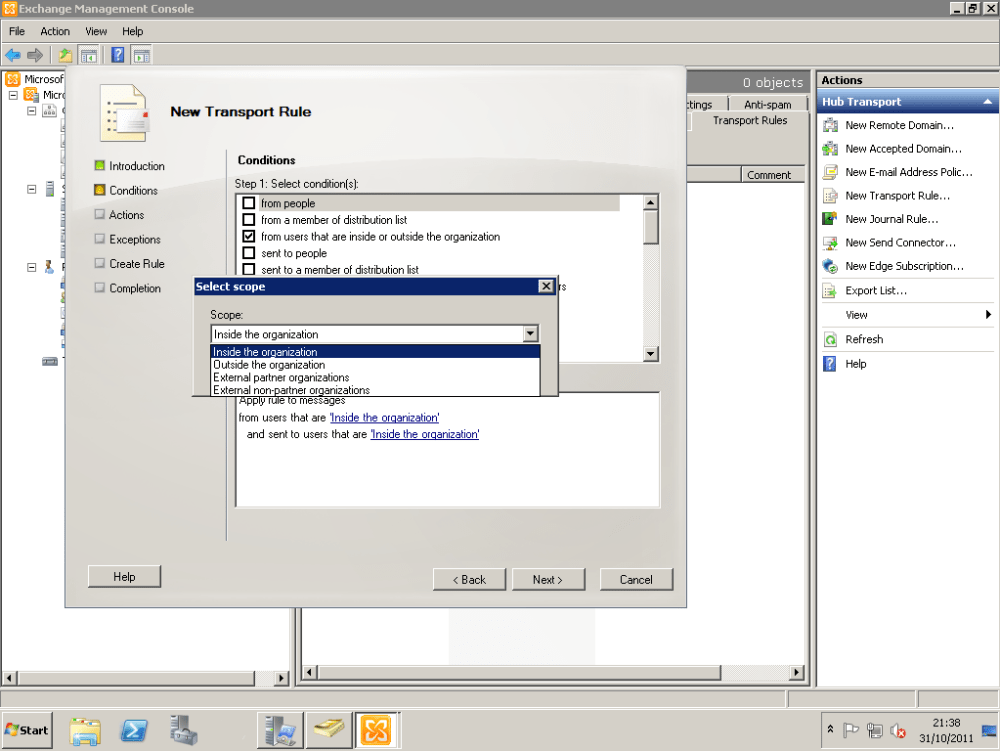 How To Configure Exchange 2010 To Delay Sending Of Emails With Large Attachments Until Approved By Moderator (5/6)