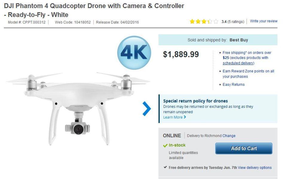 DJI Phantom 4 Canada sale and shipping costs