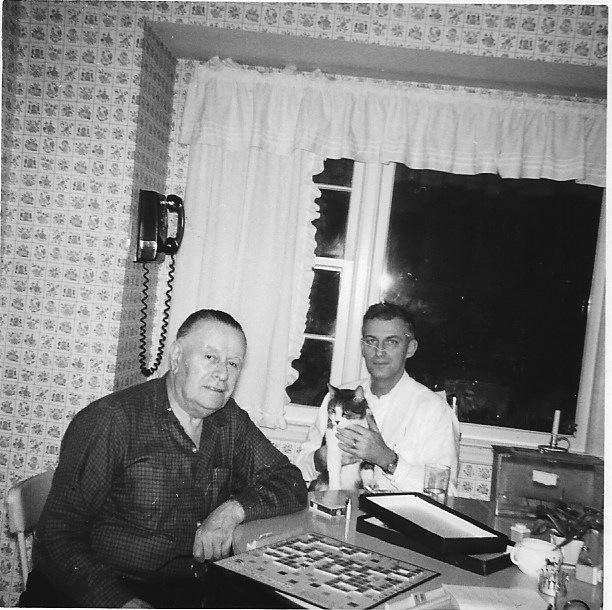 Alfonse Dad and Ra play Scrabble