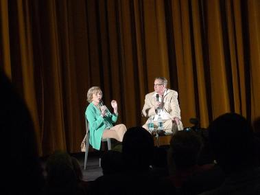 Nancy Olson on stage with Alan K. Rode
