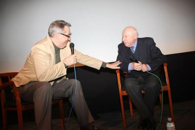 Alan K. Rode on stage with Norman Lloyd at His Centennial Celebration