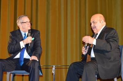 photo of Jon Polito on stage with Alan K. Rode