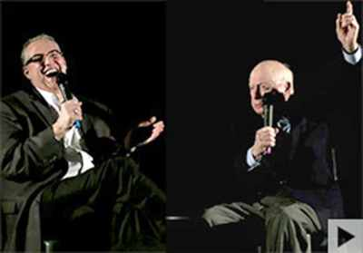 Norman Lloyd On Stage Regaling Audience and Making Alan K. Rode Laugh
