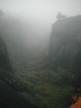 Devils Ashpit in the mist
