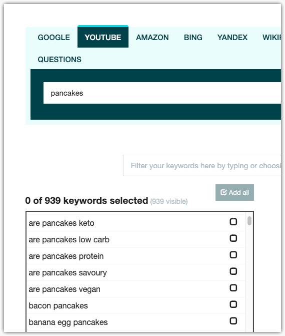 keyword.io results