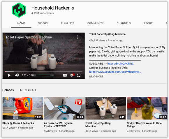 Household Hacker Channel Page