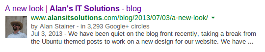 Search results showing the effects of Google Authorship