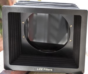 The Lee Filter system has a couple of ways to attach to the camera. Here a bellows attachment holds a Big Stopper filter.