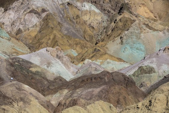 Artist's Palette, Death Valley with Caroline from Brazil adding scale.