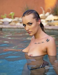 K. in the pool in Tucson. Perfect.