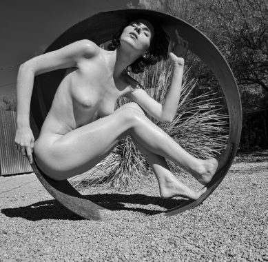 Whitney Masters braving the Arizona sun in my sculpture garden