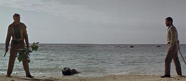 Lee Marvin et Toshiro Mifune dans Duel dans le Pacifique (1968)