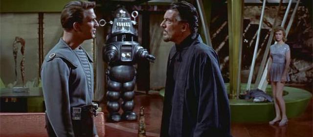 Leslie Nielsen et Walter Pidgeon dans Planète Interdite (1956)