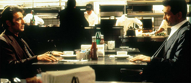 Al Pacino et Robert de Niro sur le tournage de Heat (1995)