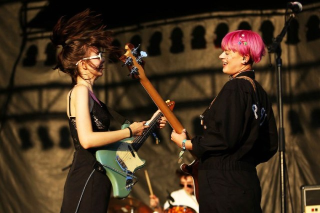 Lydia Night and Sage Chavis of the Regrettes at Riot Fest Saturday.