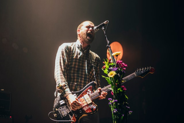 Jesse Lacey, guitar and vocalist of Brand New, singing passionately