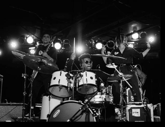 US ON STAGE IN MONTANA WITH OUR DRUMMER. BAD BEAT MAN 'HEAVY'. SUCH A PLEASURE PLAYING WITH THIS MOTHER FUCKER EVERY NIGHT.