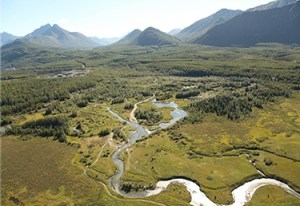 The Eklutna River flows from Cook Inlet into the Eklutna Flats. Photo courtesy Eklutna, Inc.