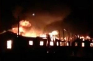 A huge fire broke out in the unfinished Alcohol Treatment Center in Bethel on Monday night.