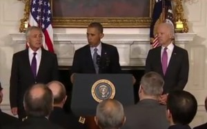 Flanked on either side by his Vice President and Defense Secretary Chuck Hagel, President Obama announces Hagel's resignation.