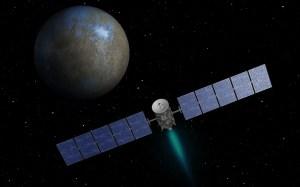 This artist's concept shows NASA's Dawn spacecraft heading toward the dwarf planet Ceres. Image credit: NASA/JPL-Caltech