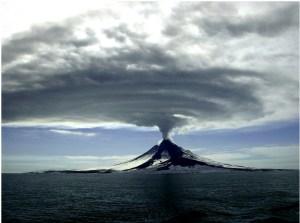 Augustine Volcano during its 2005-2006 eruption. Cyrus Read, Alaska Volcano Observatory/USGS.