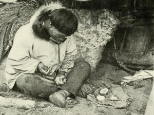 Alaska Native ivory worker circa 1910.